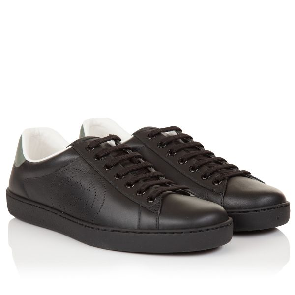 Gucci Perforated Interlocking G Logo Ace Leather Sneaker