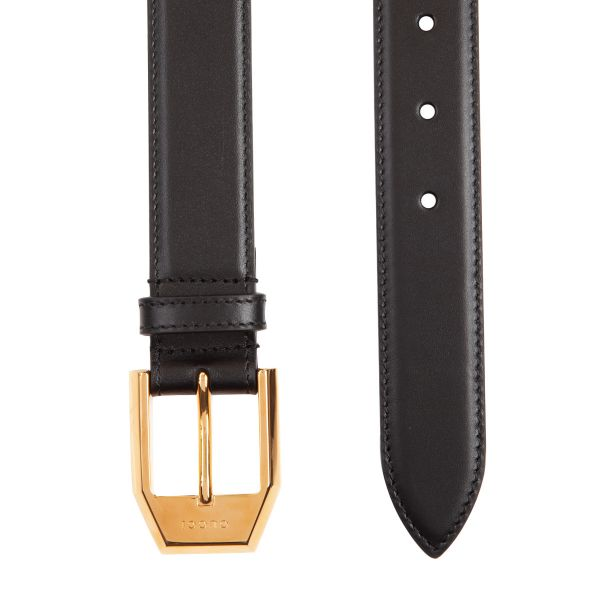 Gucci Logo Leather Square Buckle Belt