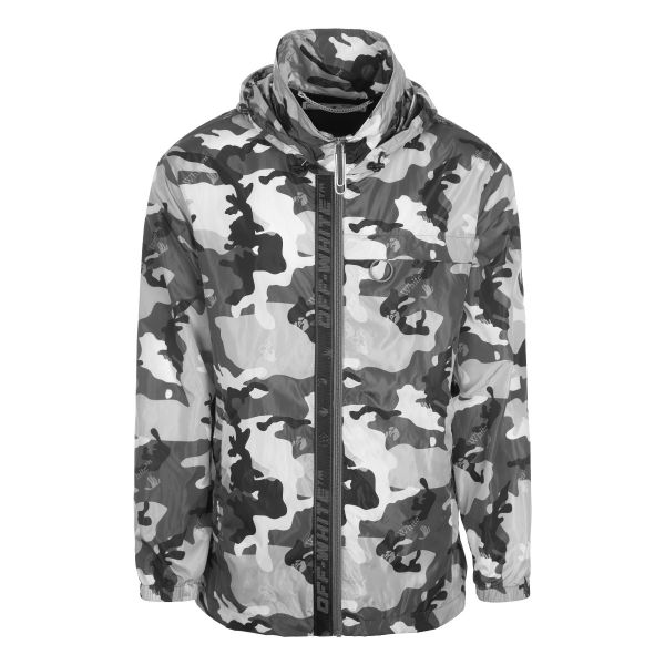 Off White Camouflage Pattern All Over Hooded Windbreaker Jacket