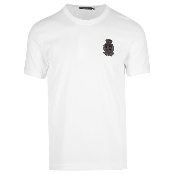 Dolce & Gabbana Embroidered Heart Crest Logo T-Shirt